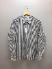 ストライプシャツ/長袖シャツ/L/コットン/BLU/ストライプ/596-9150510