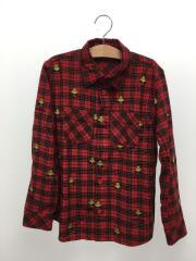 MINIFACE刺繍/ネルシャツ/長袖シャツ/140cm/コットン/RED/チェック/10111203