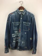 101GRNH-SHM02/デニム ワークシャツ 長袖シャツ/L/コットン/IDG