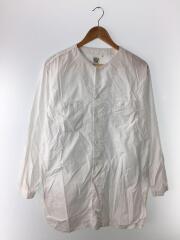 ノーカラーシャツ/長袖シャツ/1/コットン/ホワイト/日本製/ロングワークシャツ/03-8073-69