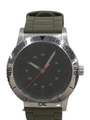クォーツ腕時計/アナログ/ラバー/BLK/KHK/3針/夜光/時計