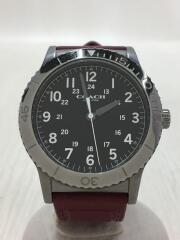 クォーツ腕時計/アナログ/ラバー/BLK/BRD/ベゼルウォッチ/3針
