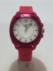 クォーツ腕時計/アナログ/ラバー/WHT/PNK/CA.43.7.53.0503/盤面周りキズ有