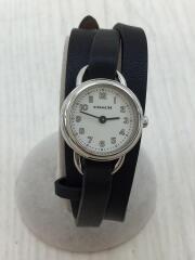 レザーブレス腕時計/アナログ/レザー/WHT/BLK