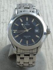クォーツ腕時計/アナログ/ステンレス/ネイビー/シルバー/SEAMASTER120M シーマスター
