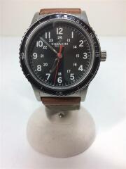 クォーツ腕時計/アナログ/キャンバス/BLK/KHK/コーチ/CA.80.2.14.1401