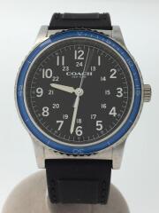 クォーツ腕時計/アナログ/ラバー/BLK