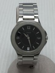 クォーツ腕時計/アナログ/ステンレス/BLK/SLV/0154