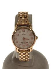 ゴールドカラークォーツ腕時計/アナログ/ステンレス/小ぶり時計/1042/中古