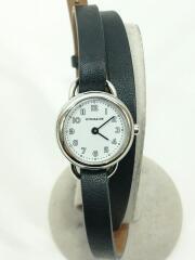 クォーツ腕時計/アナログ/レザー/ホワイト/ブラック/ダブルラップ