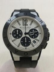 自動巻腕時計/ラバー/シルバー/ブラック/2020/06/OH済/DG42SMCCH/ブルガリ