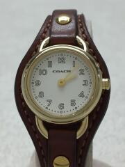 クォーツ腕時計/アナログ/レザー/WHT/BRW/8穴/調節可/生活防水/レザーベルト