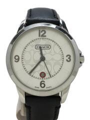 クォーツ腕時計/アナログ/レザー/SLV/BLK/0290