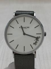 クォーツ腕時計/アナログ/レザー/SLV/SLV