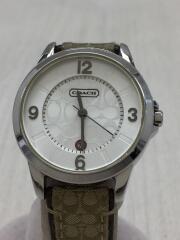 クォーツ腕時計/アナログ/レザー/ホワイト/カーキ/CA.13.7.14.0431