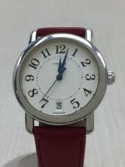 クォーツ腕時計/アナログ/レザー/IVO/RED/社外ベルト