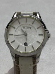 クォーツ腕時計/アナログ/レザー/SLV/CRM