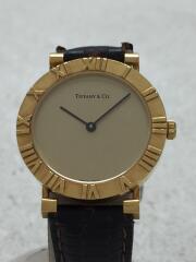 クォーツ腕時計/ベルト社外/アナログ/レザー/GLD/BRW/m0630/ティファニー