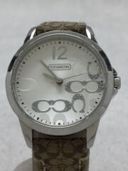 クォーツ腕時計/アナログ/レザー/キャンバス/シグネチャー/WHT/BEG/CA.13.7.14.0647