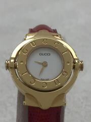 クォーツ腕時計/アナログ/レザー/WHT/RED