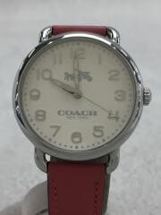クォーツ腕時計/アナログ/レザー/ホワイト/ピンク/CA.97.7.14.1035/中古