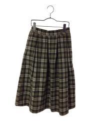 先染めチェックギャザースカート