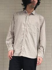 エコ素材ストライプ長袖レギュラーカラーシャツ