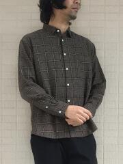 コットンリネンチェック柄レギュラーカラーシャツ