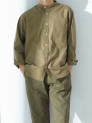 イージーケア素材 ブロードスタンドカラー長袖シャツ