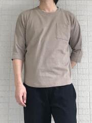 変形インレイ7分袖Tシャツ
