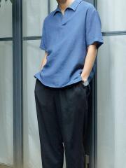 フレンチリネンミックスパナマ織りスキッパー半袖シャツ