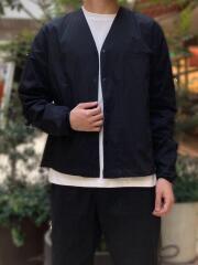 ストレッチポプリン素材/アスレチックノーカラーシャツジャケット